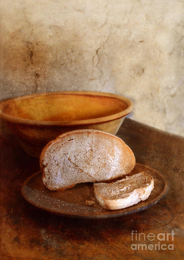 Bread On Rustic Plate And Table Photograph