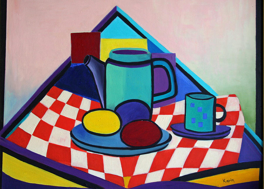 Abstract Painting - Breakfast With Eggs by Karin Eisermann
