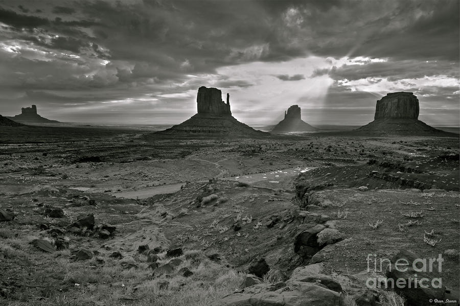 Breaking Light At Monument Valley - Black And White Photograph