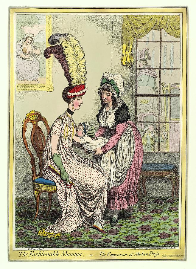 Breastfeeding, 18th-century Caricature Photograph  - Breastfeeding, 18th-century Caricature Fine Art Print