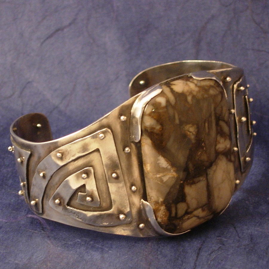 Brecciated Jasper Sterling Silver Cuff Bracelet Jewelry