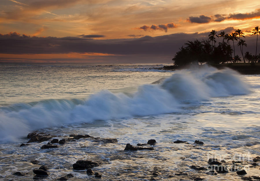 Brennecke Waves Sunset Photograph  - Brennecke Waves Sunset Fine Art Print