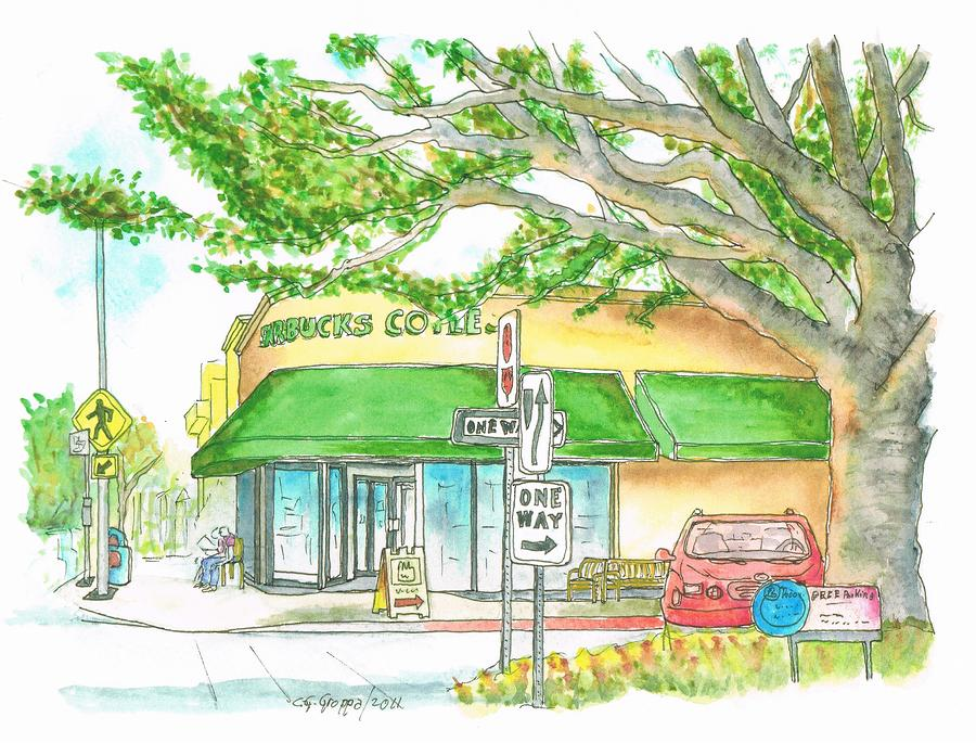 Brentwood-starbucks-california Painting  - Brentwood-starbucks-california Fine Art Print