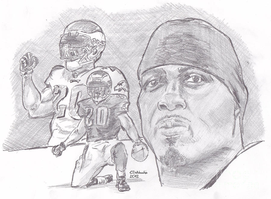 Brian Dawkins Bw Drawing