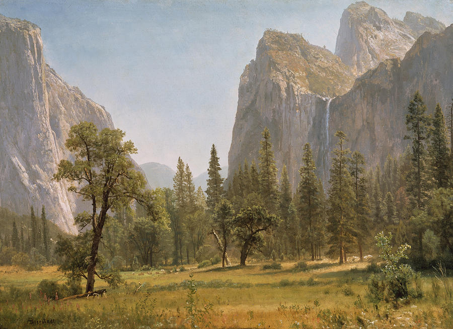 Bridal Veil Falls Yosemite Valley California Painting