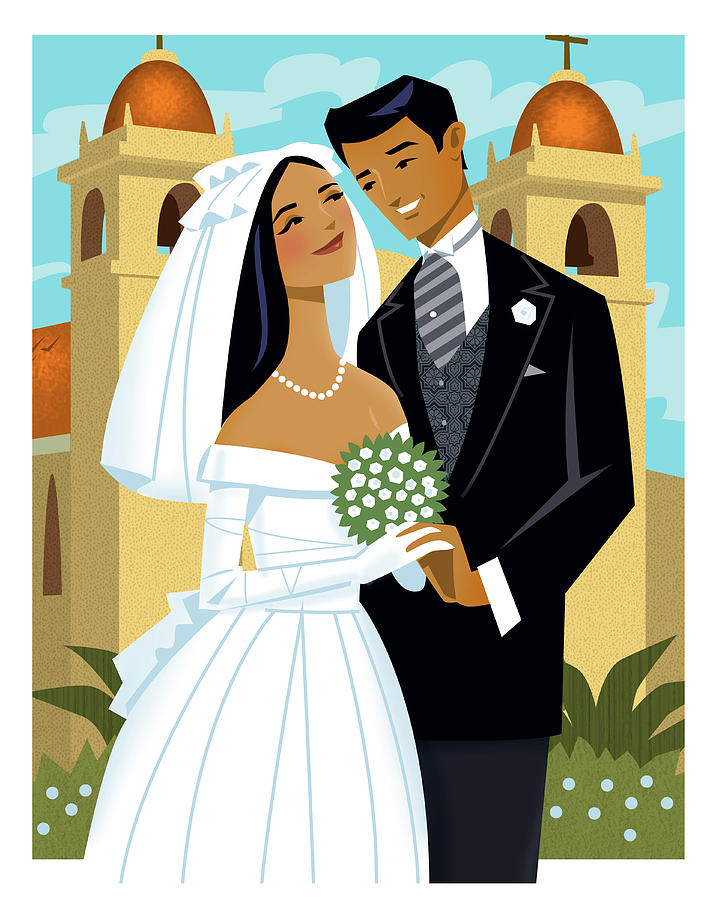 Bride And Groom Digital Art