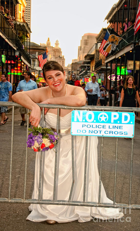 Bride Photograph - Bride And The Barricade On Bourbon Street by Kathleen K Parker