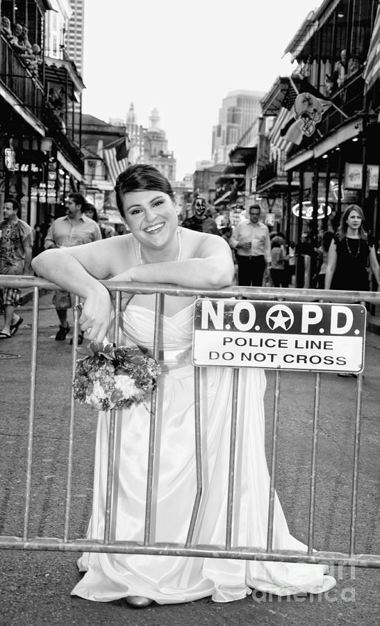 Bride On The Barricade On Bourbon St Nola Photograph  - Bride On The Barricade On Bourbon St Nola Fine Art Print
