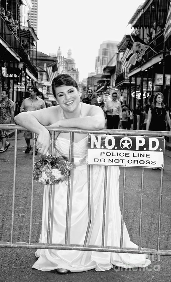 Bride On The Barricade On Bourbon St Nola Photograph