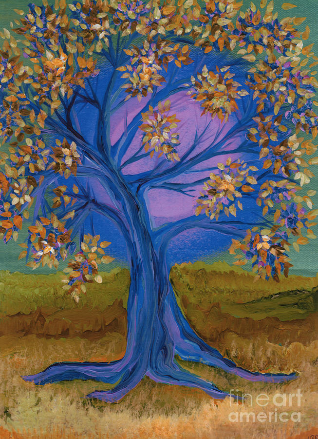 Bridesmaid Tree Blue Painting  - Bridesmaid Tree Blue Fine Art Print