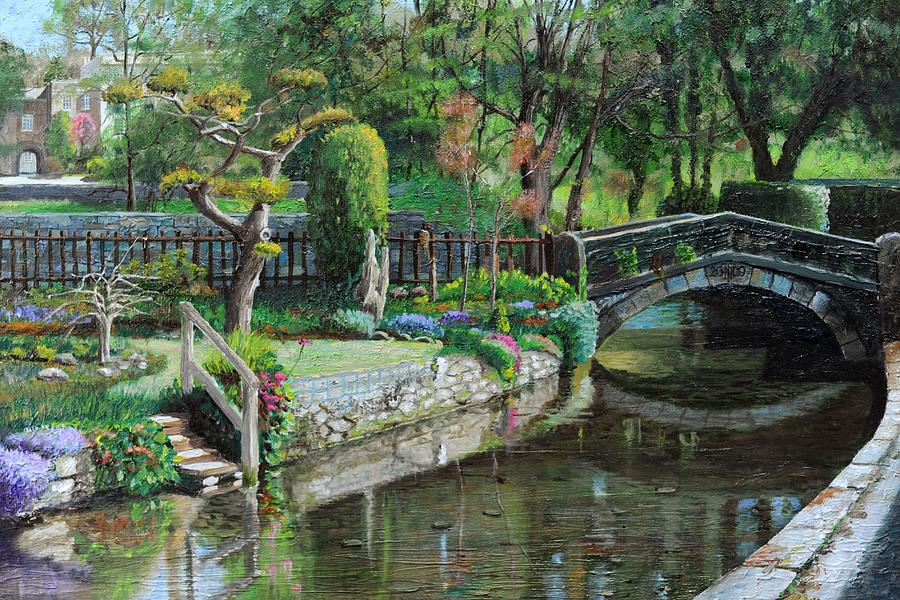 Scenic; Peak District; Garden; Flowers; Flower; Tranquil; Serene; English Landscape; Bridge; Bakewell; Derbyshire ; Tree; Trees; Water; Stairs Painting - Bridge And Garden - Bakewell - Derbyshire by Trevor Neal