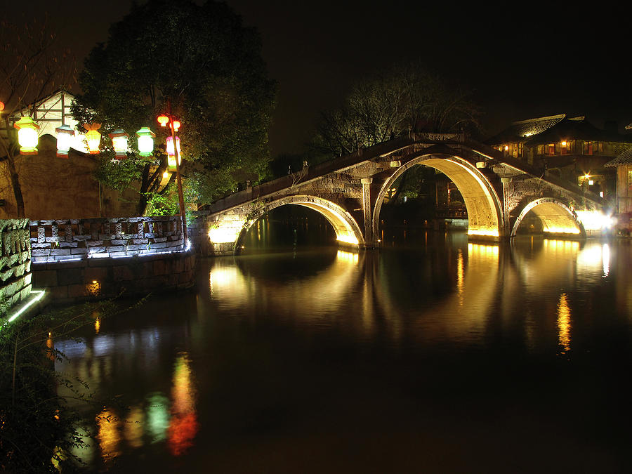 Bridge In Chinese Water Town Photograph  - Bridge In Chinese Water Town Fine Art Print