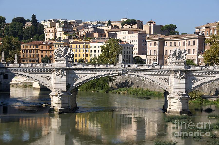 Bridge Ponte Vittorio II. River Tiber.rome Photograph