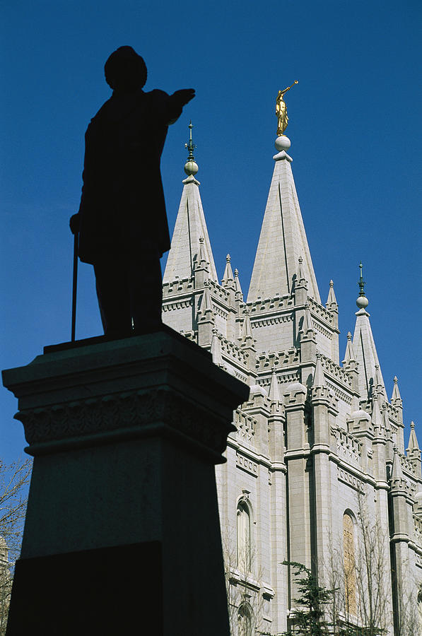 Brigham Young Statue Frames The Jesus Photograph