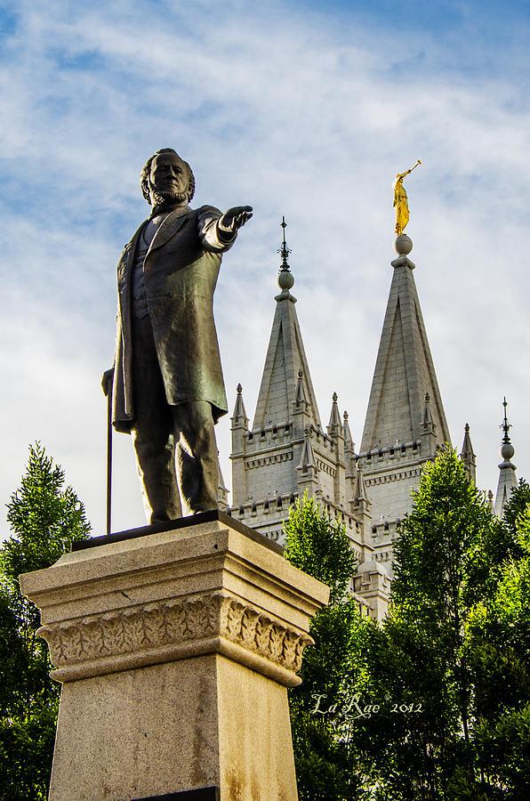 Mormon Temple Photography Photograph - Brighams Slc Temple by La Rae  Roberts