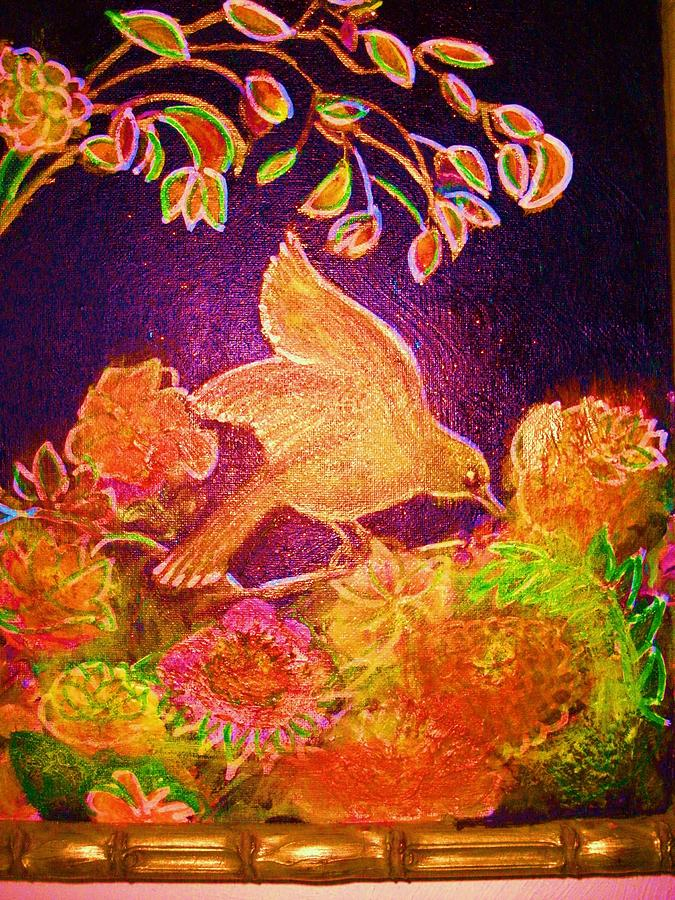 Bird Painting - Bright Bird With Flowers And Leaves by Anne-Elizabeth Whiteway