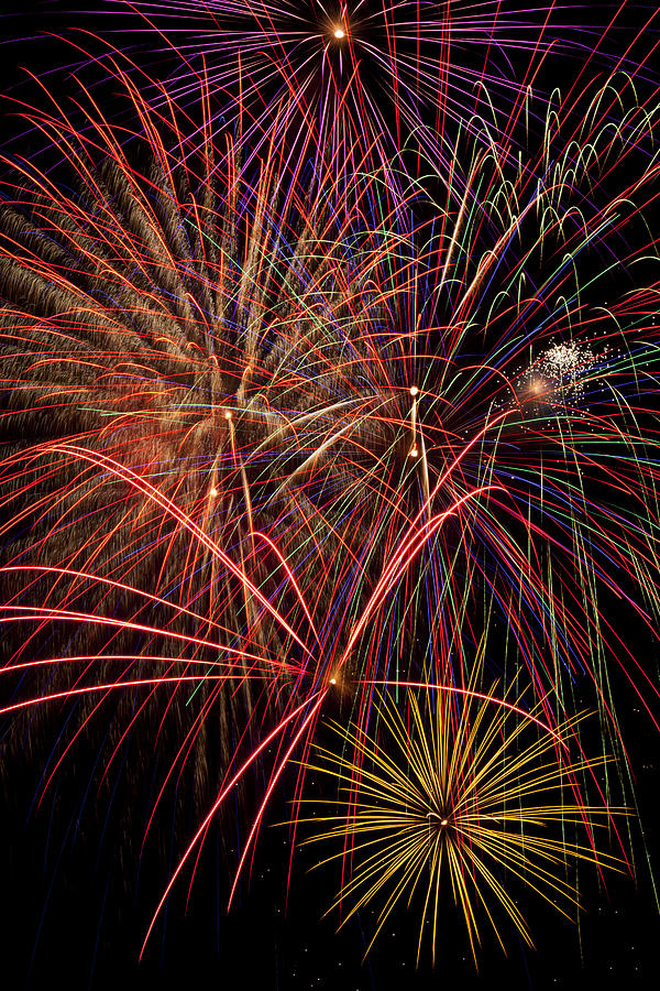 Bright Colorful Fireworks Photograph  - Bright Colorful Fireworks Fine Art Print