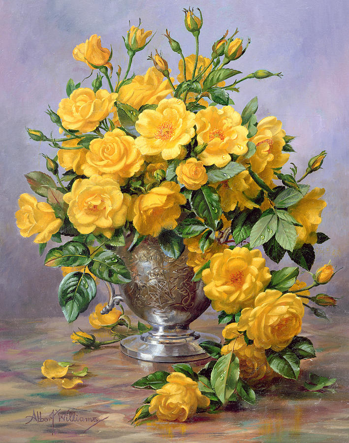 Yellow; Joyful; Rose; Still Life; Flower; Arrangement; Floral; Happiness; Roses; Vase; Silver Vase; Flowers; Rose Petals On The Floor; Roses On The Floor Painting - Bright Smile - Roses In A Silver Vase by Albert Williams