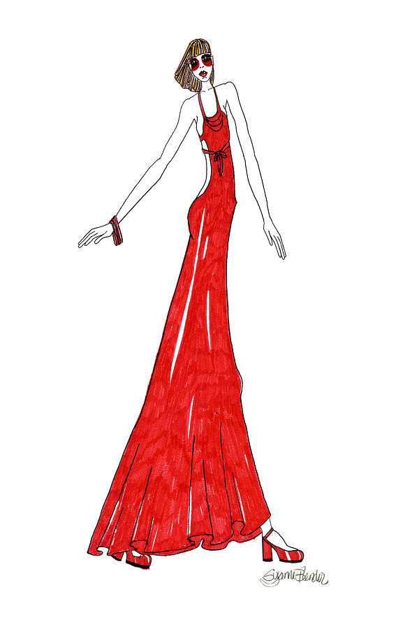 Fashion Drawing - Brighton by Suzanne Blender