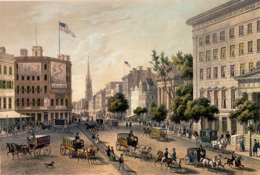 Broadway In The Nineteenth Century Painting  - Broadway In The Nineteenth Century Fine Art Print