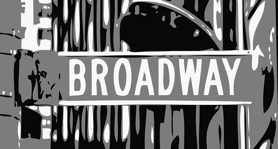 New York Broadway Sign Photograph - Broadway Sign Color Bw3 by Scott Kelley