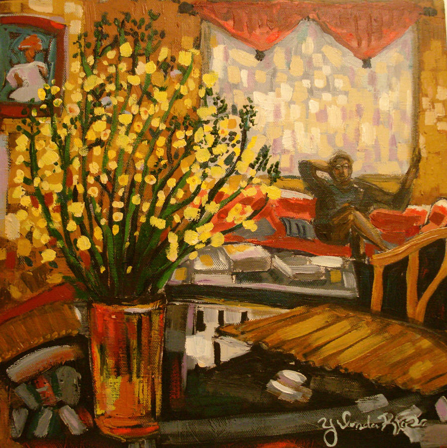 Broccoli Blooms In The Livingroom Painting