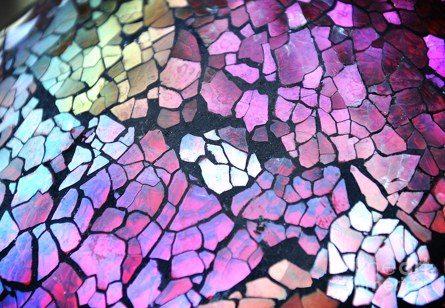 Broken Glass Mosaic Squares Photograph