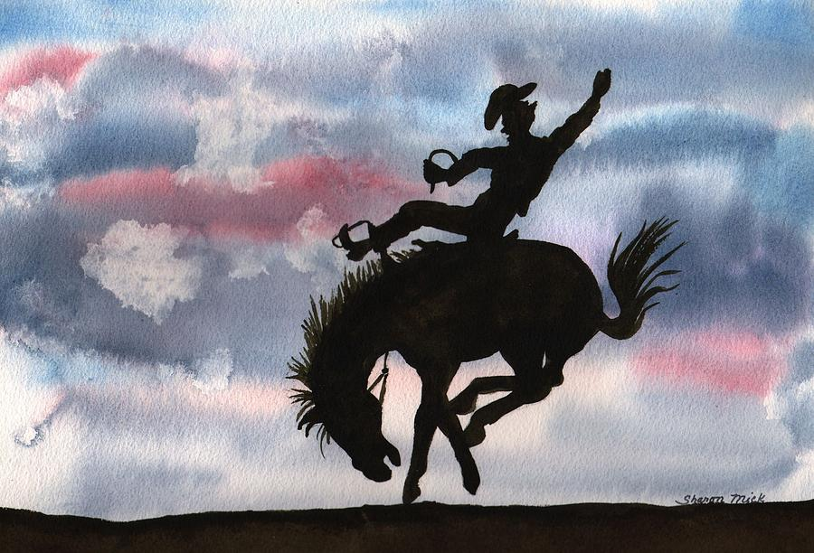 Bronco Busting Painting