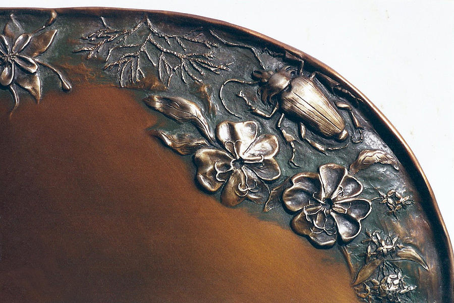 Bronze Tray Detail With Beetle Sculpture  - Bronze Tray Detail With Beetle Fine Art Print
