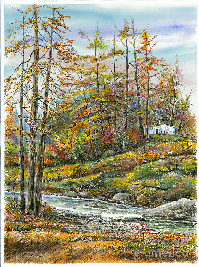 Brook In Autumn Painting