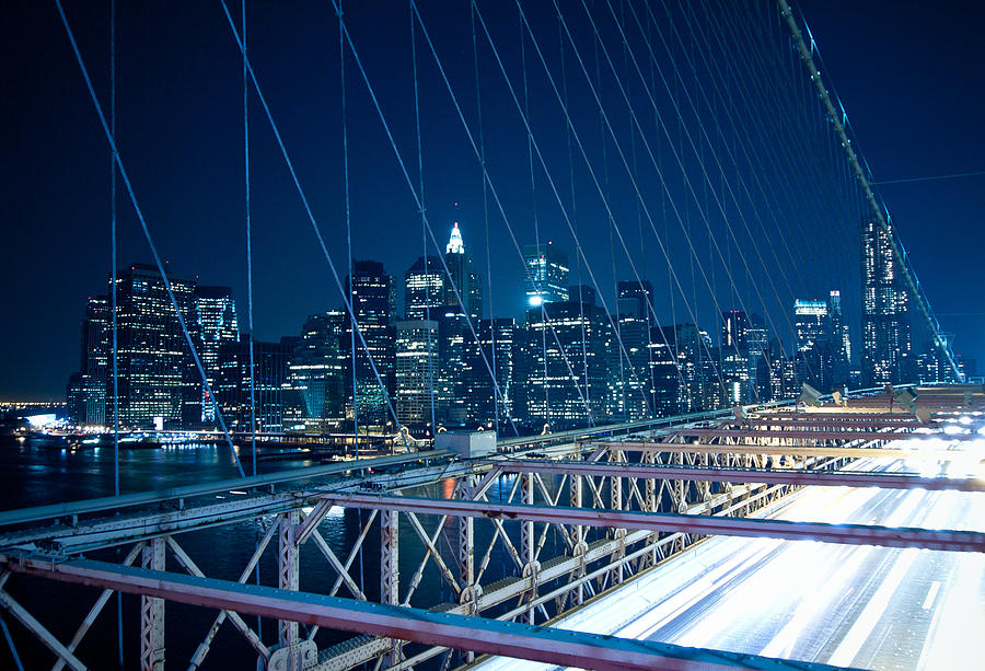 Brooklyn Bridge And Lower Manhattan By Night Photograph