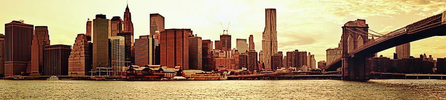 Brooklyn Bridge And New York City Skyline Panorama Photograph  - Brooklyn Bridge And New York City Skyline Panorama Fine Art Print