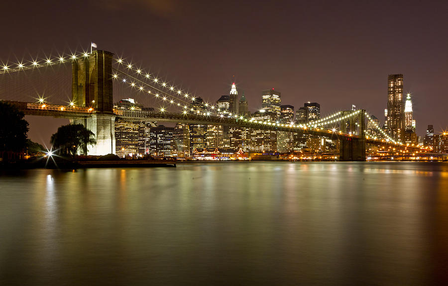 Brooklyn Bridge At Night 10 Photograph  - Brooklyn Bridge At Night 10 Fine Art Print