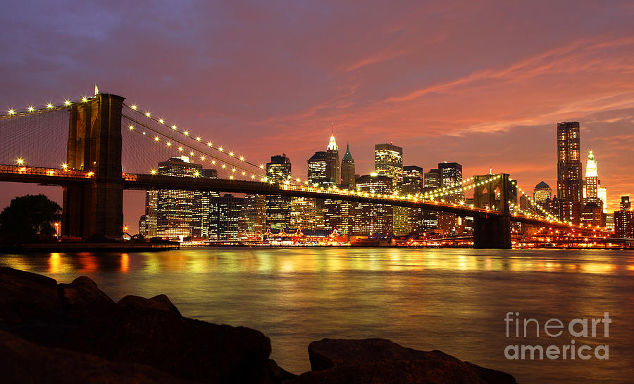 Brooklyn Bridge At Night Photograph  - Brooklyn Bridge At Night Fine Art Print