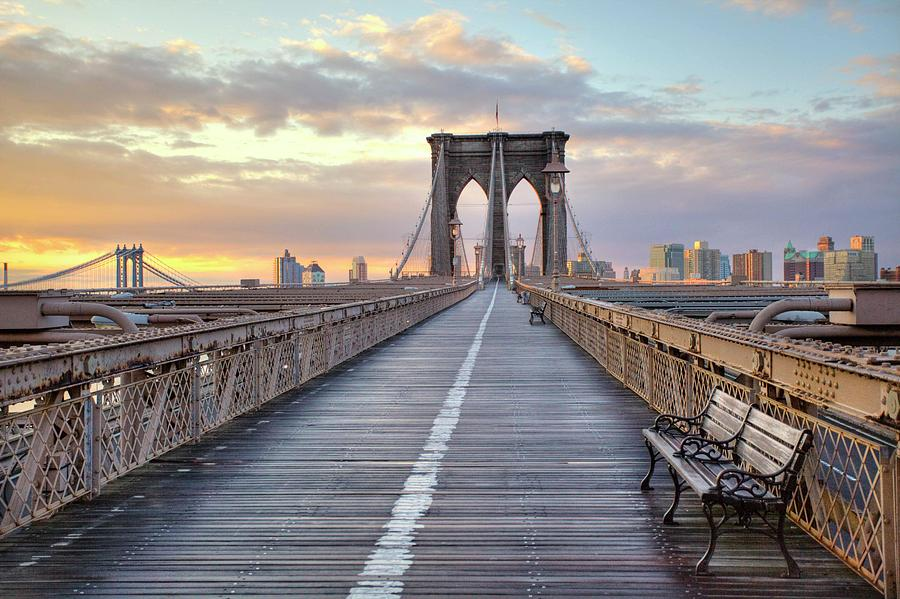 Brooklyn Bridge At Sunrise Photograph  - Brooklyn Bridge At Sunrise Fine Art Print