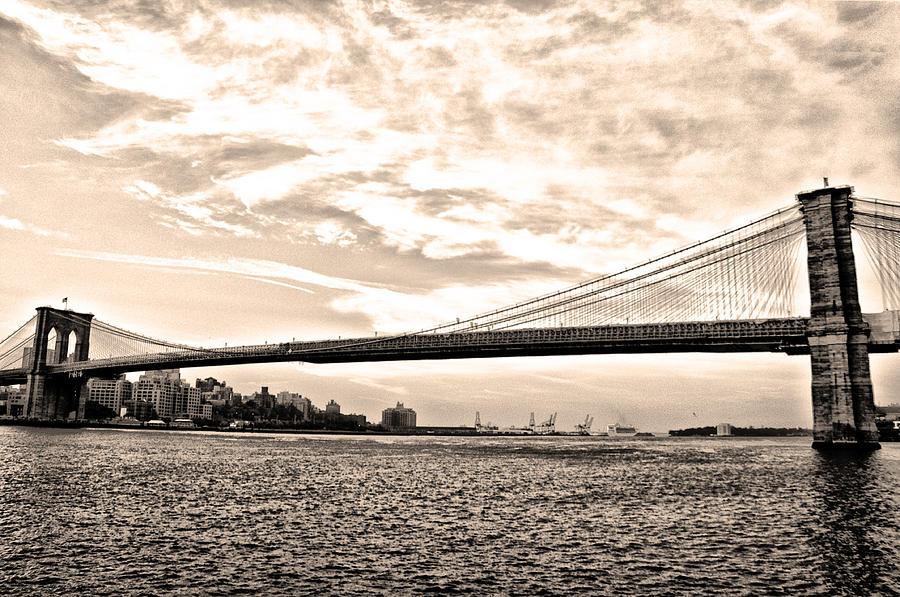 Brooklyn Bridge In Sepia Photograph - Brooklyn Bridge In Sepia by Bill Cannon