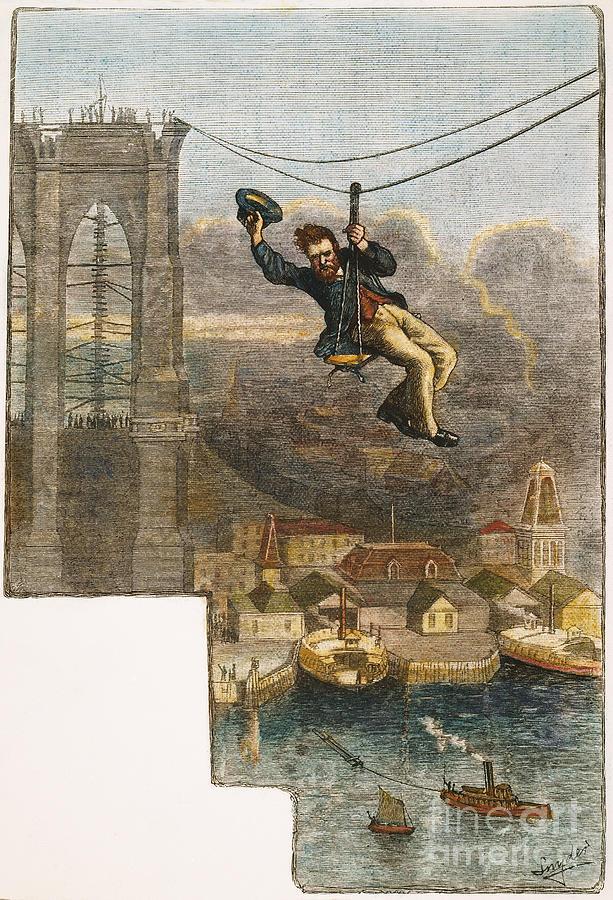 1876 Photograph - Brooklyn Bridge Mechanic by Granger
