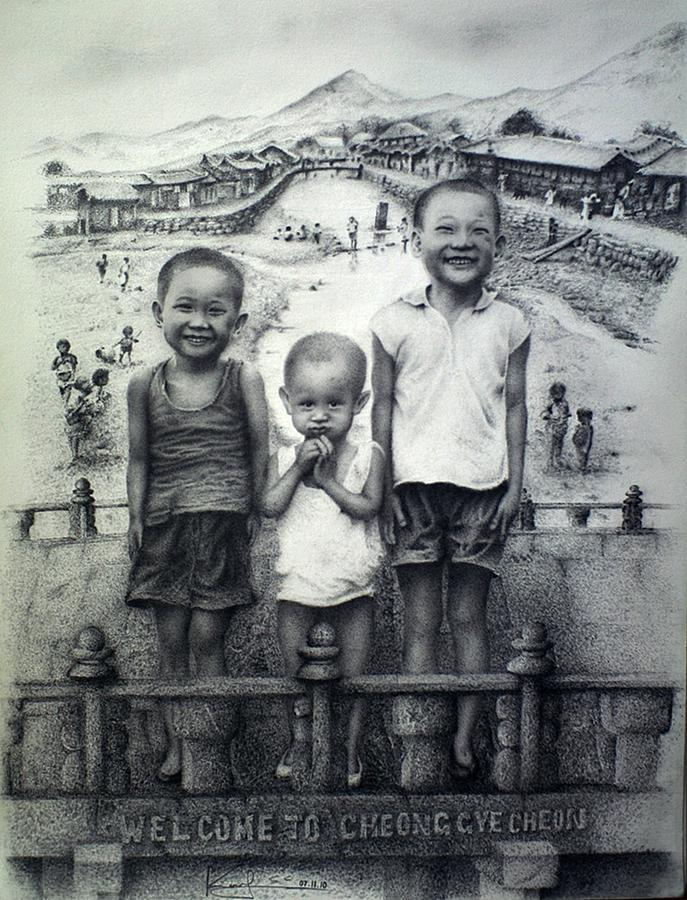 Pencil Drawing Drawing - Brothers by Sucheol Kong