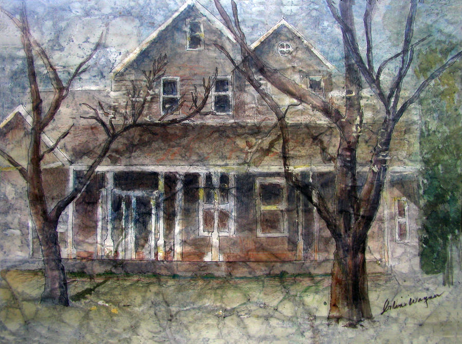 Brown Batik House Mixed Media  - Brown Batik House Fine Art Print
