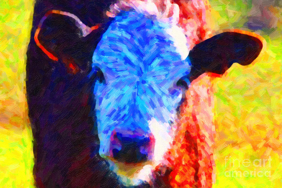 Brown Cow . Painterly Photograph  - Brown Cow . Painterly Fine Art Print