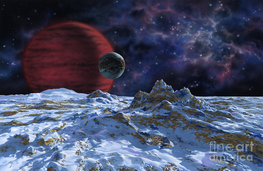 lynette Cook Painting - Brown Dwarf With Planet And Moon by Lynette Cook