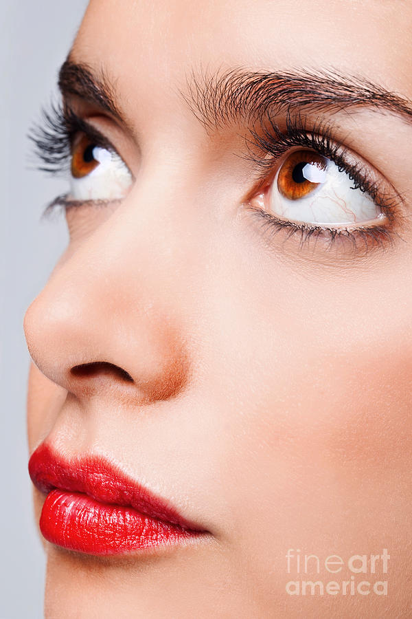 Brown Eyes And Red Lips Photograph