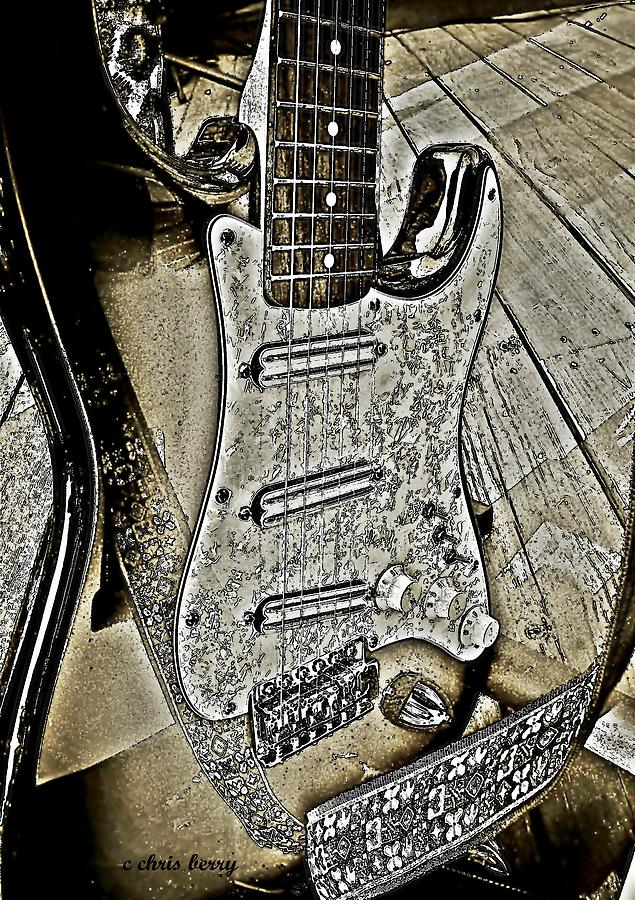 Brown Pencil Electric Guitar Photograph