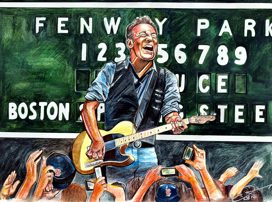 Bruce Springsteen At Fenway Park Drawing  - Bruce Springsteen At Fenway Park Fine Art Print