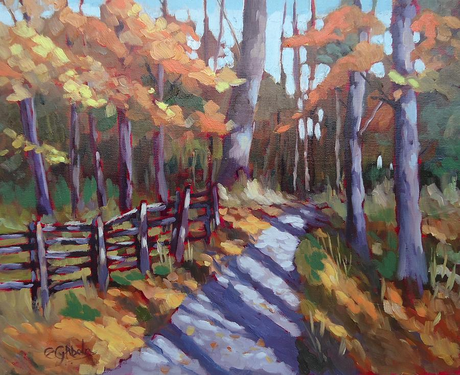 Bruces Mills Fall Colors Painting by Edward Abela