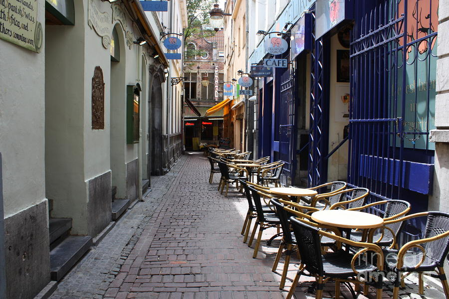 Brussels Side Street Cafe Photograph