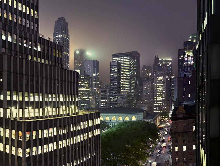 Bryant Park At Night From Roof Looking East Photograph