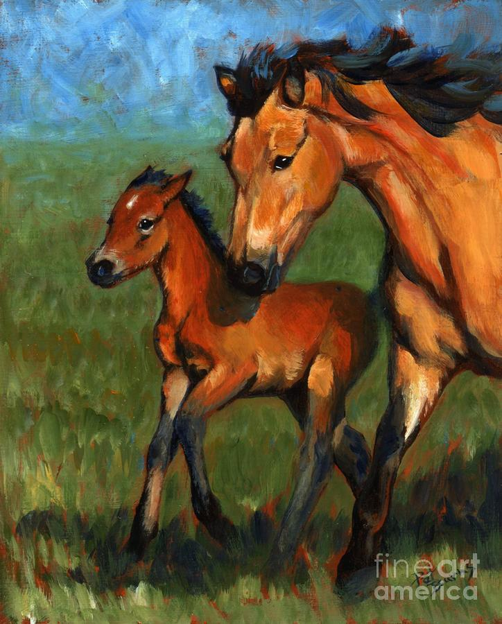 Buckskin And Baby Painting  - Buckskin And Baby Fine Art Print