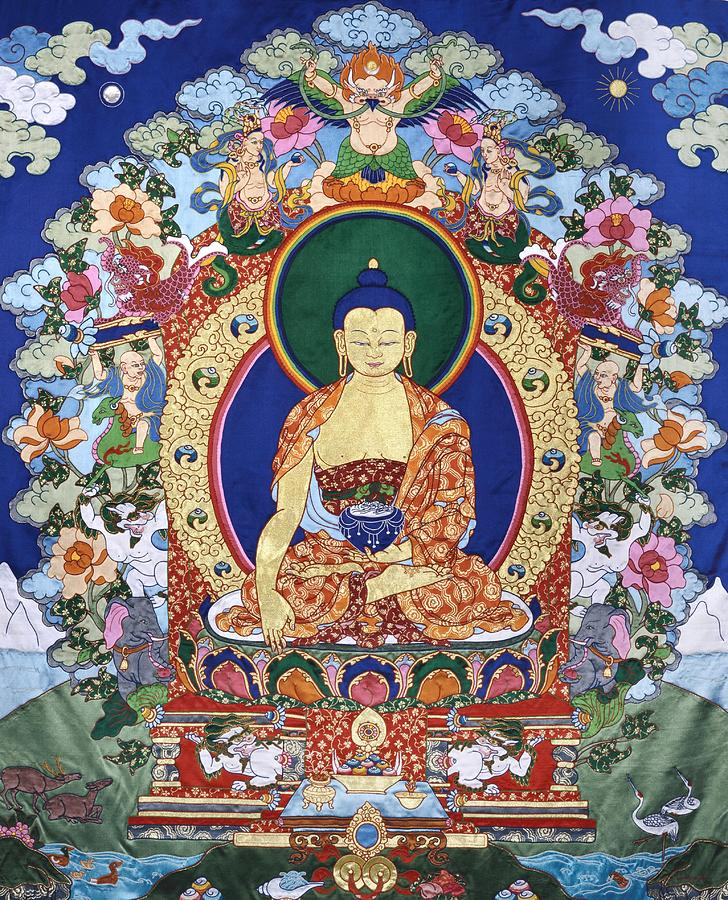 Buddha Shakyamuni And The Six Supports Tapestry - Textile  - Buddha Shakyamuni And The Six Supports Fine Art Print