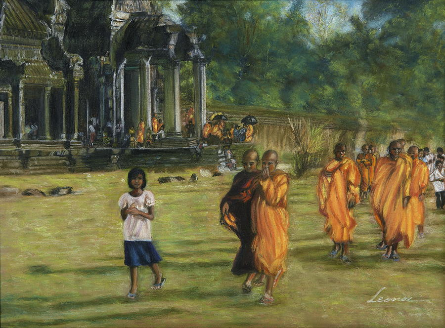 Buddhist Monks Pastel  - Buddhist Monks Fine Art Print